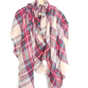 ModCloth Square Blanket Scarf Red Tan Plaid Tartan